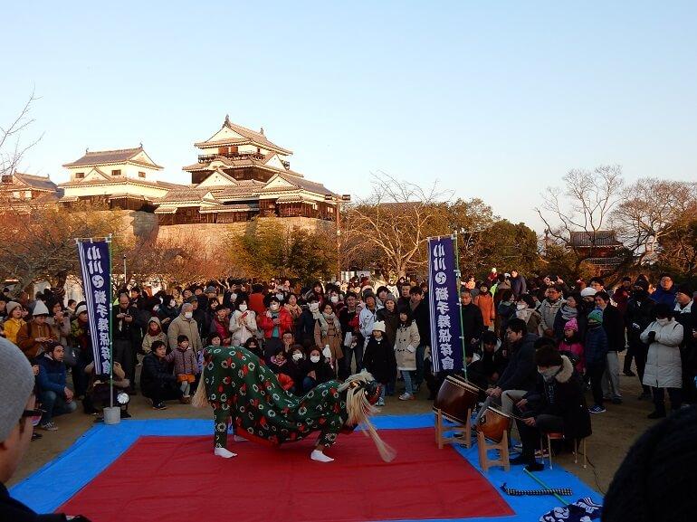 松山城、本丸、獅子舞