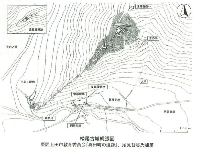 松尾城、縄張図、真田町、真田氏三代