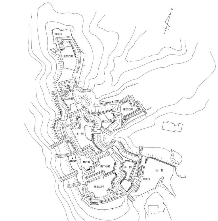杉山城、縄張図、城跡、遺構