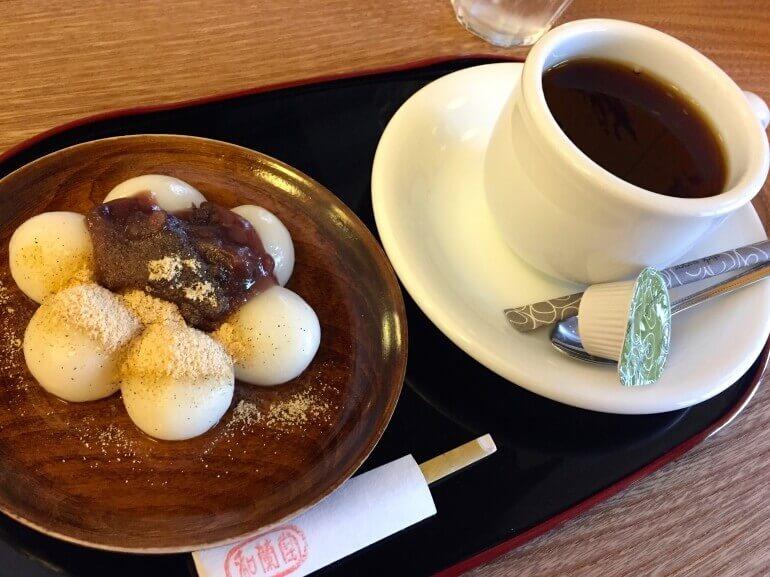 津山城下、和菓子セット、白玉団子、コーヒー、和蘭堂