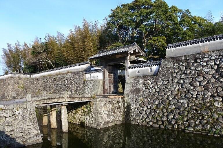 福江城、搦手門、外堀、蹴出門
