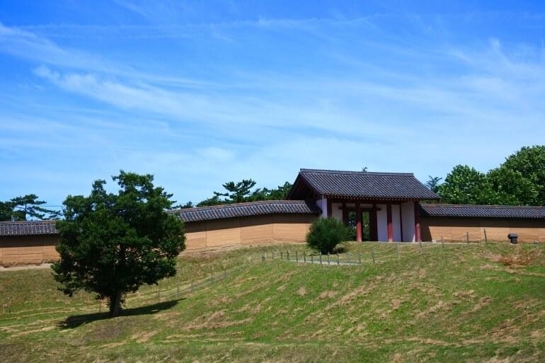 秋田城、東門、築地塀、版築技法