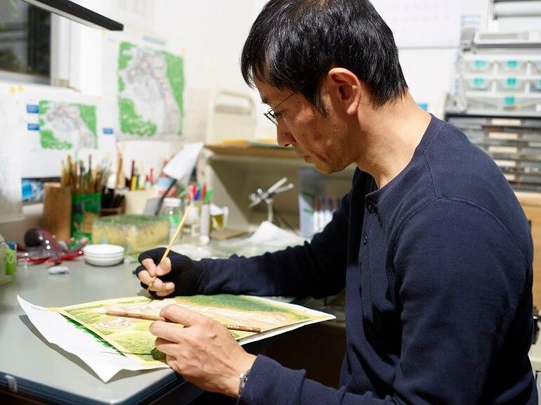 香川元太郎、復元イラスト、着色作業