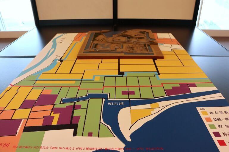 明石城、古地図、町割