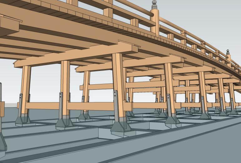 擬宝珠橋、復元完成イメージ図、鳥取城