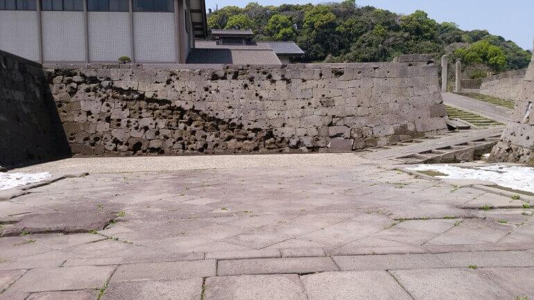 鹿児島城、本丸跡、桝形、弾痕