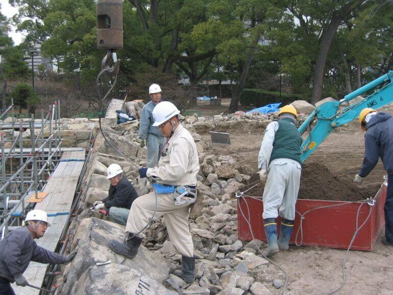 高松城、天守台石垣解体修理