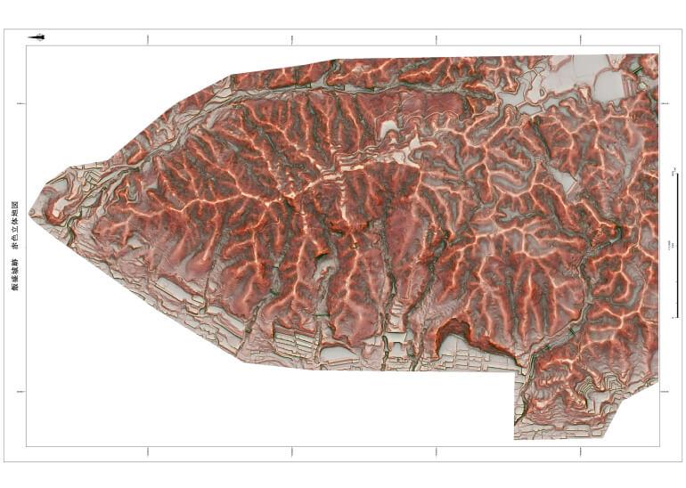 飯盛城、赤色立体地図