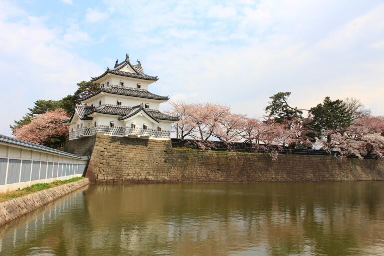新発田城、桜、御三階櫓、水堀
