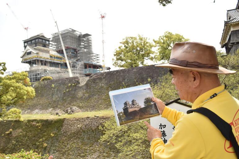 熊本城、吉村さん、ガイド
