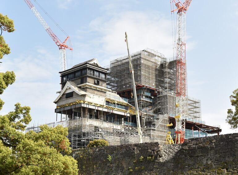 熊本城、天守、工事、メッシュシート