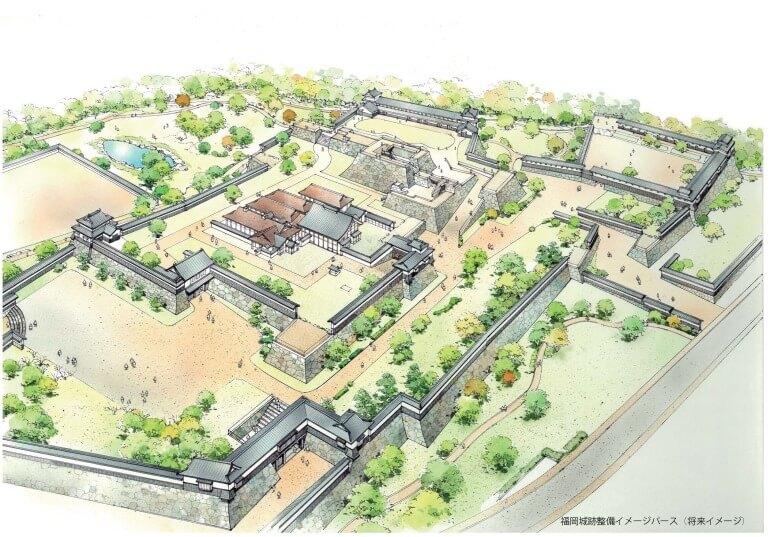 福岡城、将来イメージ図、整備計画、ふるさと納税、寄附