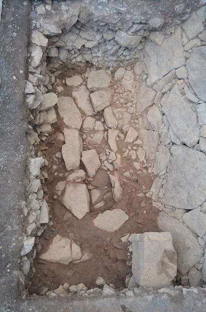 名護屋城、水手通路、石組み側溝