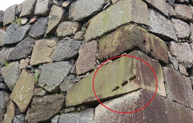 矢穴跡、名古屋城巾下門跡
