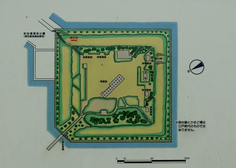 品川台場、案内板、砲台