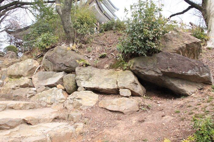 小牧山城、石垣づくり、露出展示