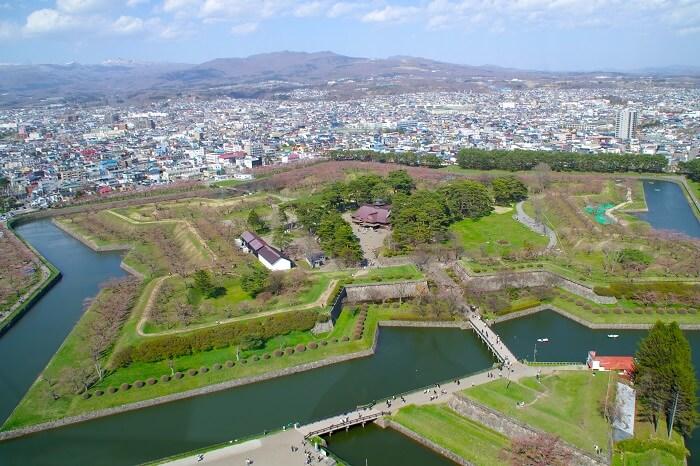 五稜郭、陵堡式、函館、観光地、陵堡、石垣、水堀、土塁、