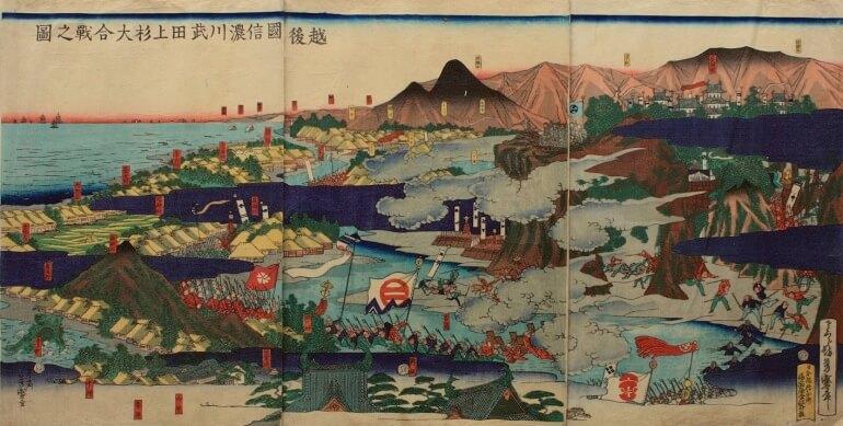 長岡城、越後国信濃川武田上杉大合戦之図