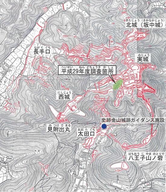 太田金山城、縄張図、発掘調査