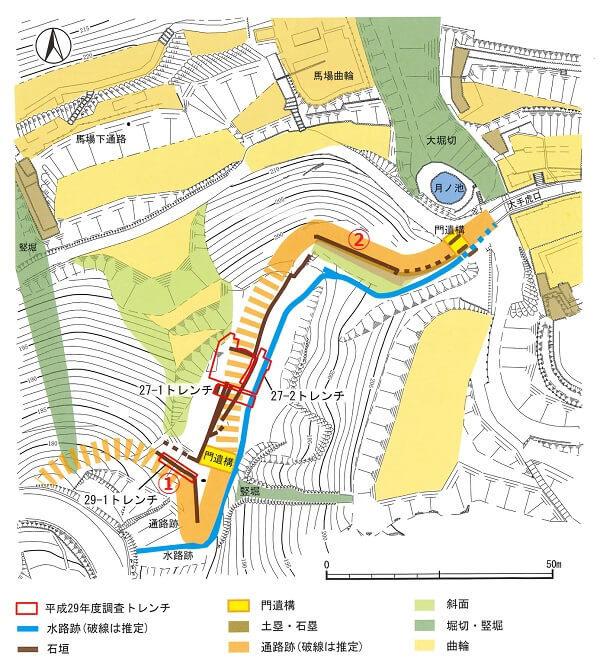 太田金山城、大手虎口周辺、防御施設、大手道跡、