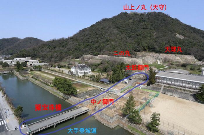 鳥取城、大手登城道、復元整備、擬宝珠橋