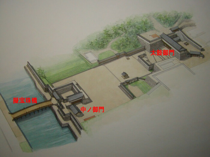 鳥取城、復元イメージ