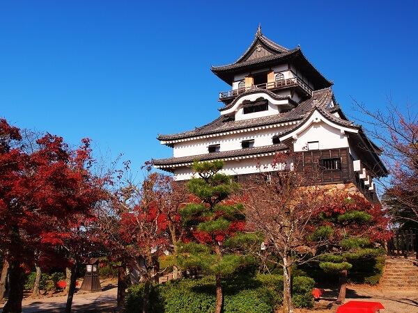 犬山城、紅葉、モミジ、桜、天守
