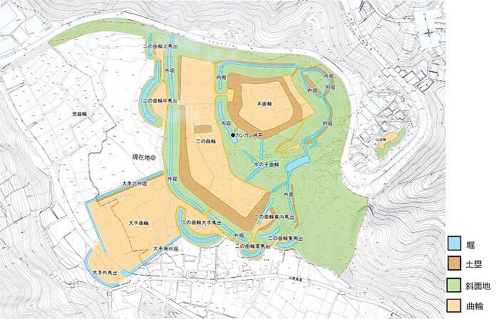 諏訪原城跡、地形図