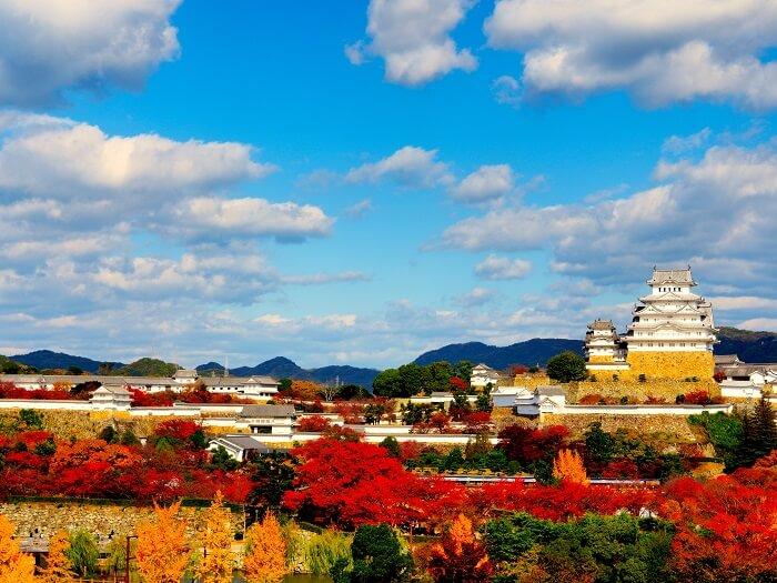 姫路城、櫓、長堀、紅葉