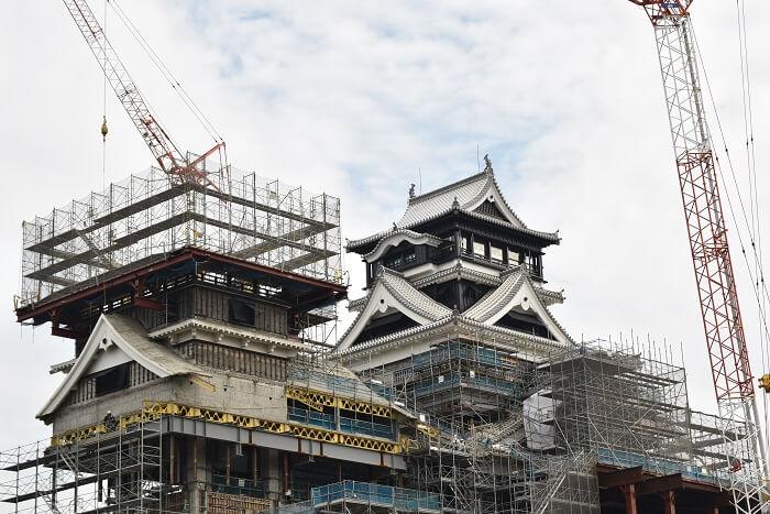 熊本城、大天守、小天守、工事用足場