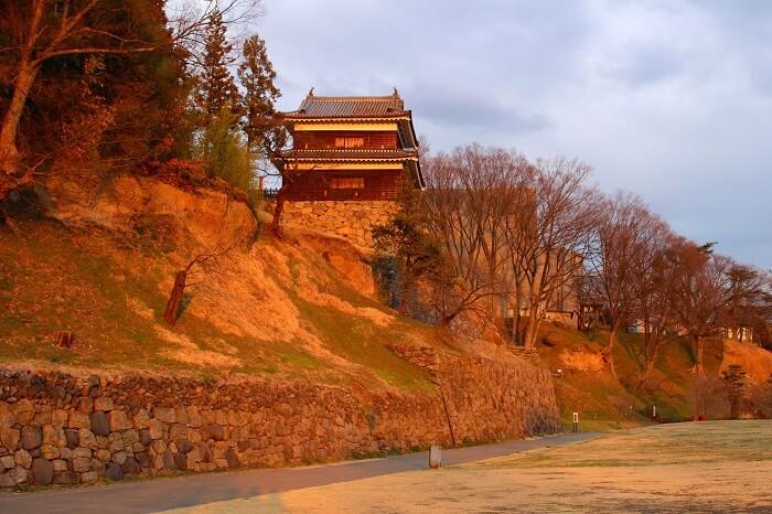 尼ヶ淵、上田城、夕陽、南櫓
