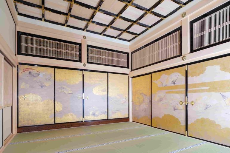 名古屋城、本丸御殿、障壁画、復元模写、湯殿書院一之間北西面、扇面流図