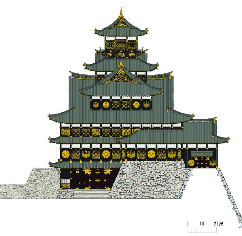 豊臣大坂城天守復元南立面図、三浦正幸、中村泰朗