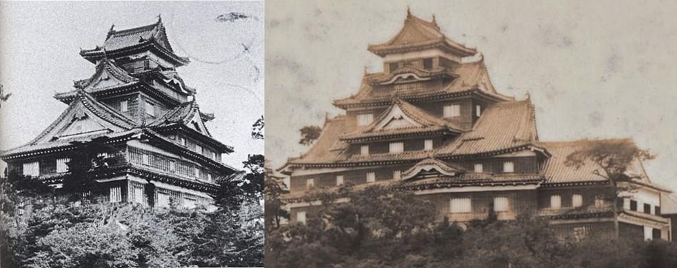 焼失前の岡山城天守