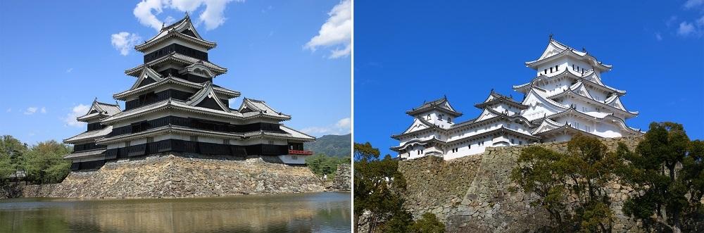 松本城、姫路城、天守