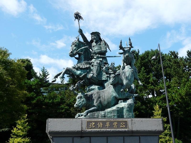 火牛の計、北条早雲、銅像