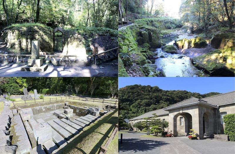 寺山炭窯跡、関吉の疎水溝、旧集成館、反射炉跡、旧集成館機械工場