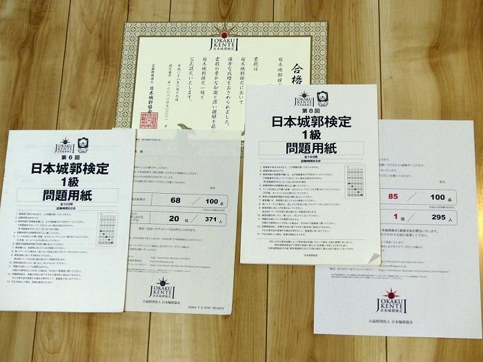 日本城郭検定1級、合格通知、不合格通知
