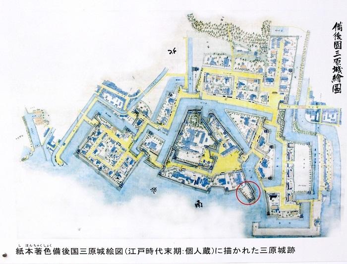 紙本着色備後国三原城絵図、三原城