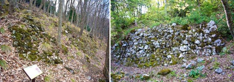 鎌刃城の大石垣と小谷城の山王丸の石垣