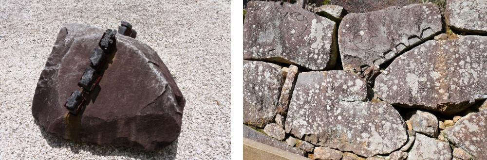 松江城、石材