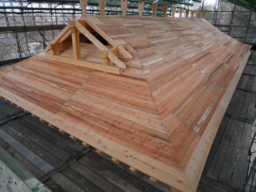 水戸城、屋根、土居葺き