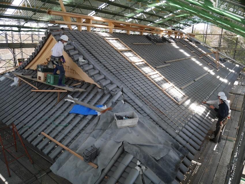 水戸城、屋根、瓦葺き