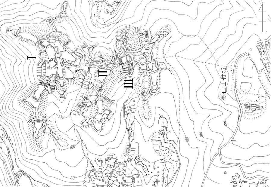 芥川山城、帯付山付城、概要図