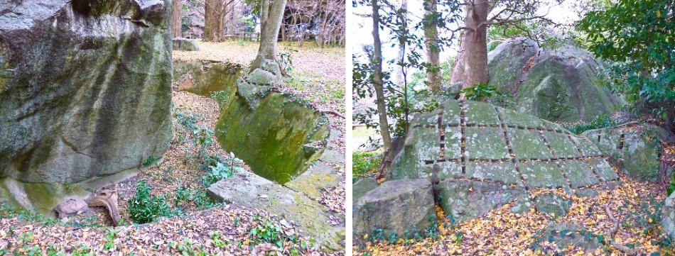 萩城、石材、露岩