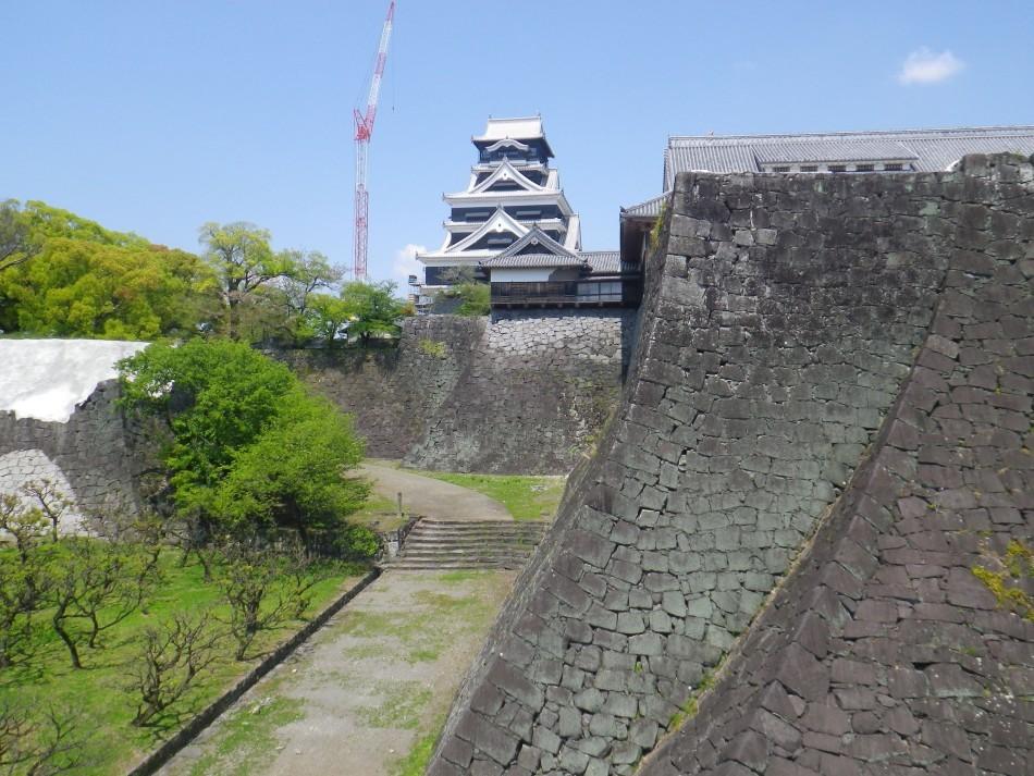 熊本城、特別見学通路、二様の石垣