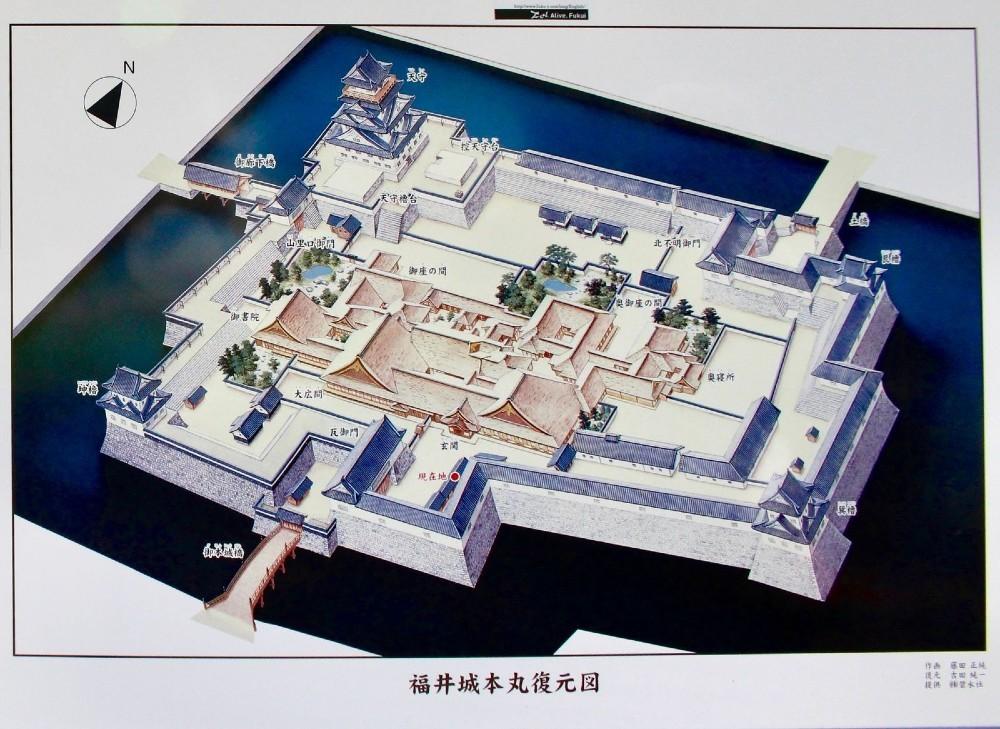 福井城、本丸復元図