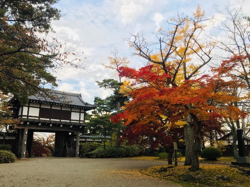 久保田城、本丸表門、紅葉
