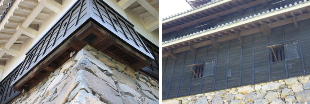 石落し、松本城、松江城