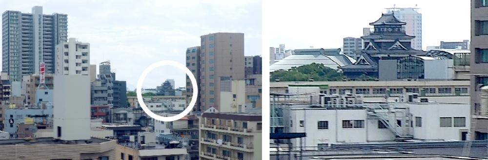 山陽新幹線、広島城